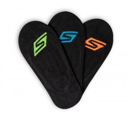 Black - Boys' 3 Pack Non-Terry Microfibre Liner Socks