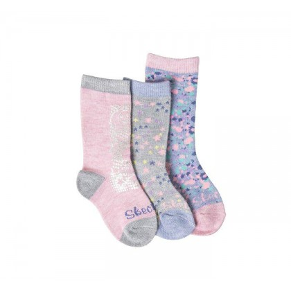 Pink / Grey - Girls' 3 Pack 1/2 Terry Low Cut Socks