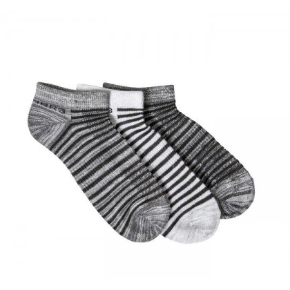 Grey / Black - Women's 3 Pack Non-Terry Low Cut Socks