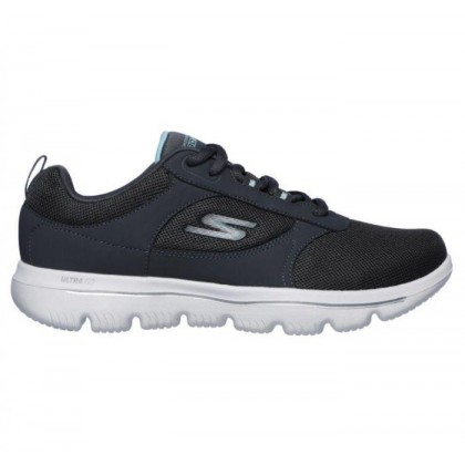 Charcoal Light Blue - Women's Skechers GOwalk Evolution Ultra - Enhance