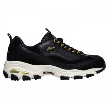 Black/Gold - Women's Skechers Premium Heritage: D'Lites - Golden Idea