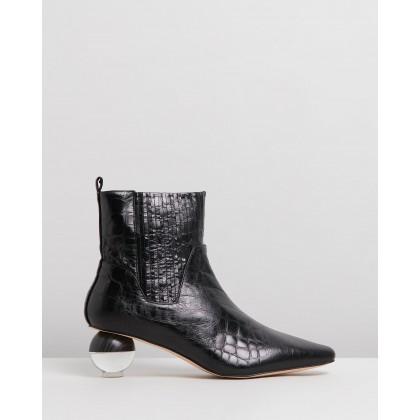 Ryland Black Croc-Embossed Leather by Skin