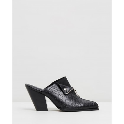 Isabella Mules Black Croc by Sol Sana