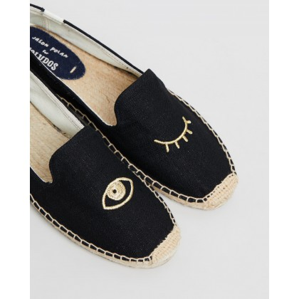 Wink Embroidery Slippers Black & Gold by Soludos