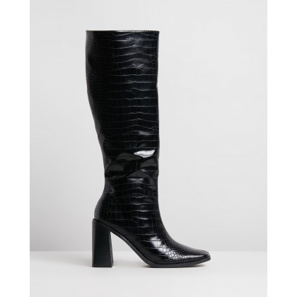 Halston Boots Black Croc Smooth by Spurr