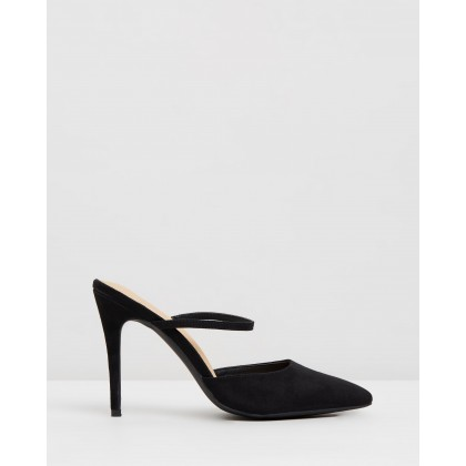 Addison Mules Black Microsuede by Spurr