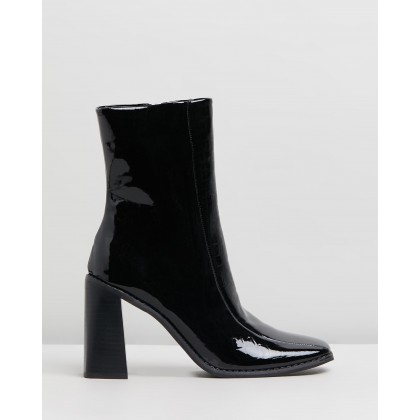 Hallie Ankle Boots Black Croc by Spurr