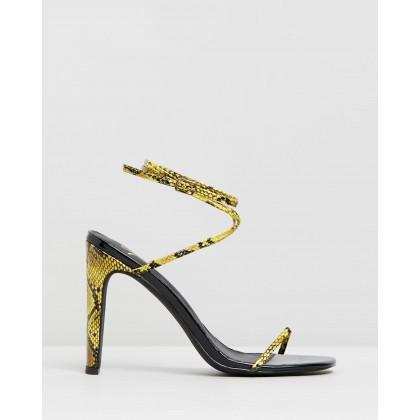 Jacqueline Heels Yellow Snakeskin by Spurr