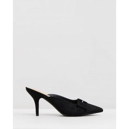 Della Heels Black Microsuede by Spurr