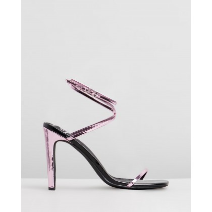 Jacqueline Heels Pink Metallic Patent by Spurr