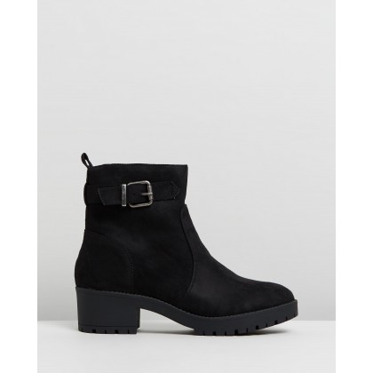 Ebony Ankle Boots Black Microsuede by Spurr