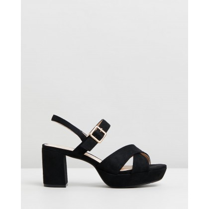 Cecil Heels Black Microsuede by Spurr