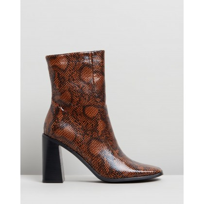 Hallie Ankle Boots Brown Snakeskin by Spurr