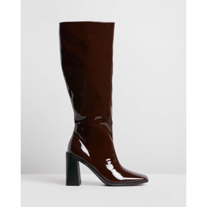 Halston Boots Brown Patent by Spurr