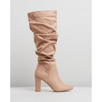 Kaylee Knee High Boots Taupe Microsuede by Spurr