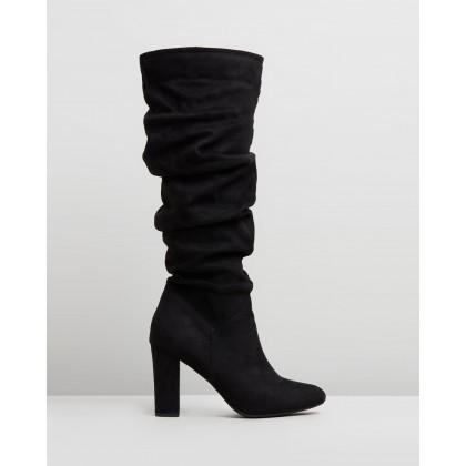 Kaylee Knee High Boots Black Microsuede by Spurr