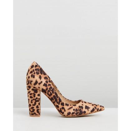 Ilka Block Heels Leopard Microsuede by Spurr