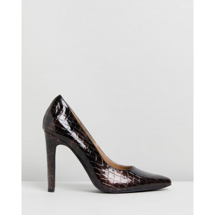 Felicia Heels Brown Croc Patent by Spurr