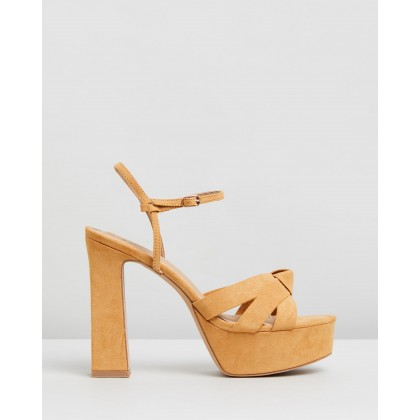 Diana Heels Tan Microsuede by Spurr