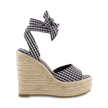Barca Black/White Gingham Wedges - Black/White Gingham Sandals by Tony Bianco Shoes