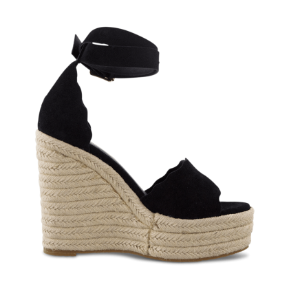 Brandi Black Kid Suede Wedges by Tony Bianco Shoes