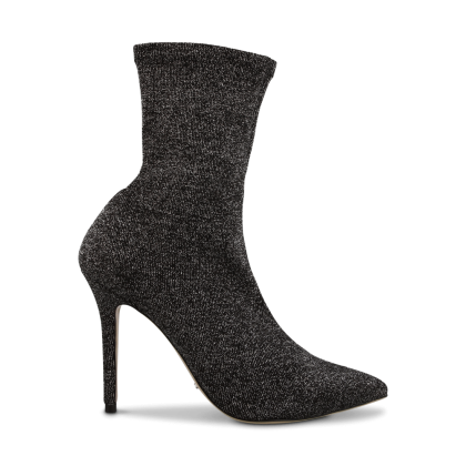 Davis Black Stretch Glitter Ankle Boots by Tony Bianco Shoes
