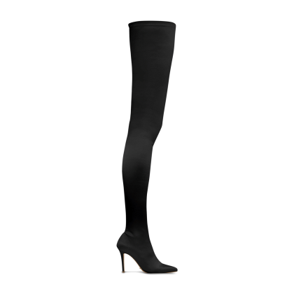 Dene Black Stretch Satin Long Boots by Tony Bianco Shoes