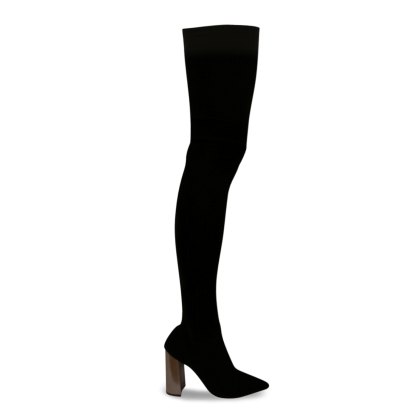 Dimity Black Velvet Stretch/Steel Long Boots by Tony Bianco Shoes