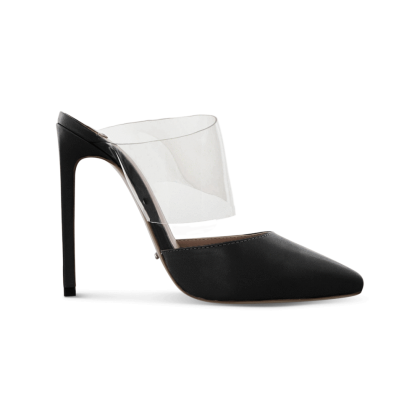 Fayme Black Como/Clear Vynalite Heels by Tony Bianco Shoes
