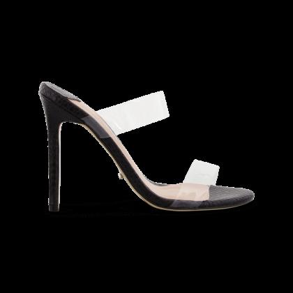 Kade Clear Vynalite/Black Snake Heels by Tony Bianco Shoes