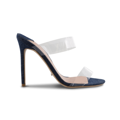 Kade Clear Vynalite/Indigo Denim Heels by Tony Bianco Shoes
