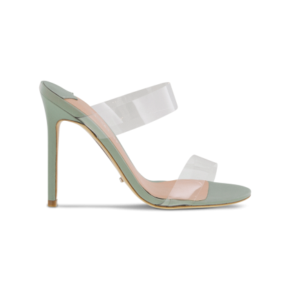 Kade Clear Vynalite/Mint Sheep Napp Heels by Tony Bianco Shoes