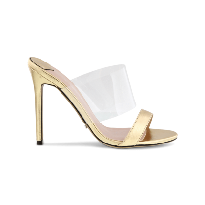 Kosta Gold Foil/Clear Vynalite Heels by Tony Bianco Shoes