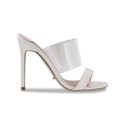 Kosta White Kid/Clear Vynalite Heels by Tony Bianco Shoes