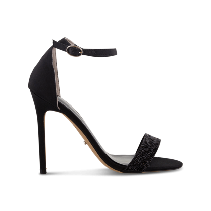 Kristan Black Luxe Satin Heels by Tony Bianco Shoes