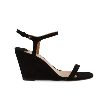Tanita Black Kid Suede Wedges by Tony Bianco Shoes
