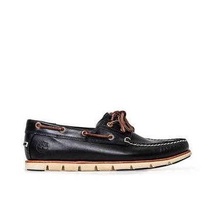 Dark Indigo Brando - Men's Tidelands 2-Eye Leather Boat Shoe Footwear Shoes by Timberland