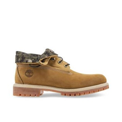 Wheat Nubuck with Green Camo - Men's Timberland Roll-Top Boot Footwear Shoes by Timberland