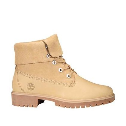 Medium Beige Nubuck - Women's Jayne Suede Fold-Down Boots Footwear Shoes by Timberland