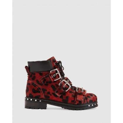 Animal Leopard Print Hiker Boots Red by Topshop