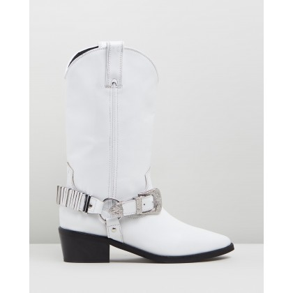 Bingo Western Boots White by Topshop