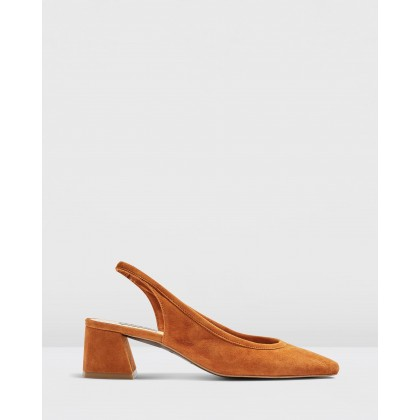Jelly Sling Low Back Heels Tan by Topshop