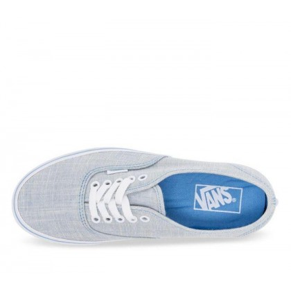 (Chambray) Alaskan Blue/True White - Authentic Alaskan Cambray Blue Sale Shoes by Vans