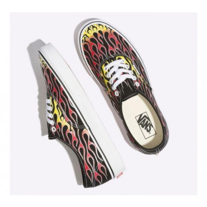 (Vans Mash Up) Flames Black/True White - Authentic Mash Up Black Flames Sale Shoes by Vans