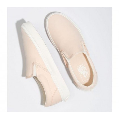 Pink - Classic Slip On Brush Twill Vanilla Cream Sale Shoes by Vans