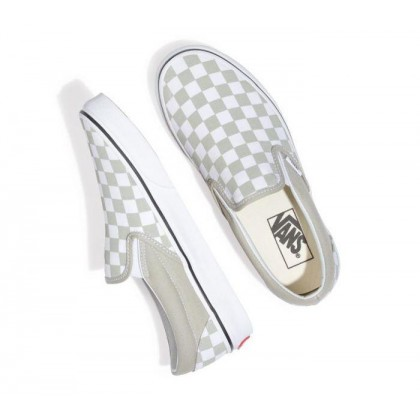 (Checkerboard) Desert Sage/True White - Classic Slip On Sale Shoes by Vans