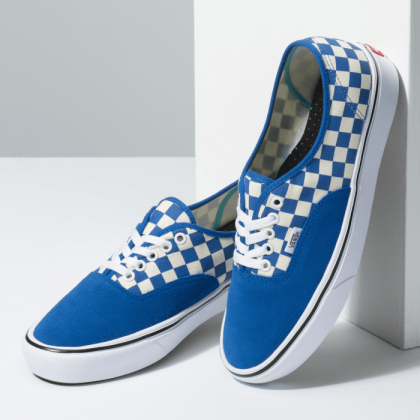 (Checker) Lapis Blue/True White - COMFYCUSH AUTH CHECK LAPIS BLU Sale Shoes by Vans