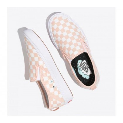 (Checker) Spanish Villa/White - Comfycush Slip On Checkerboard Pink/White Sale Shoes by Vans