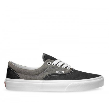 (Chambray) Canvas Black/True White - Era Chmbray Canvas Black/White Sale Shoes by Vans