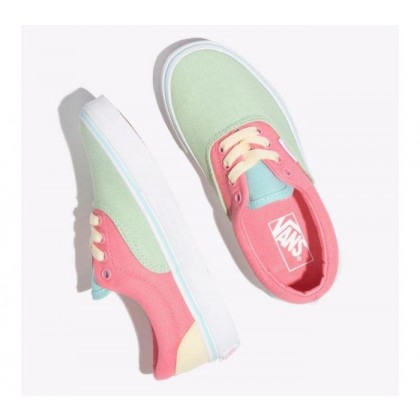 (Color Block) Strawberry Pink/True White - Kids Era Colour Block Pink/White Sale Shoes by Vans